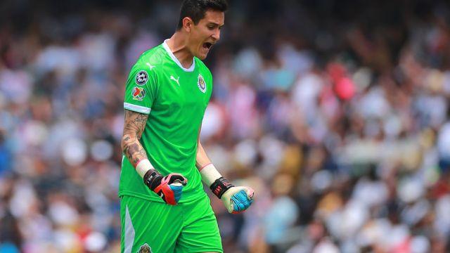 31/03/2019. Raúl Gudiño Pumas Monterrey Chivas Los Pleyers, Raúl Gudiño festeja un gol con Chivas.