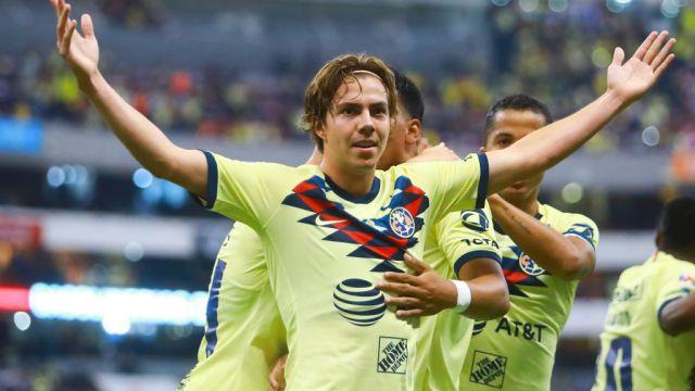 28/09/2019. Sebastián Córdova América Ajax Los Pleyers, Sebastián Córdova festeja un gol contra Chivas.