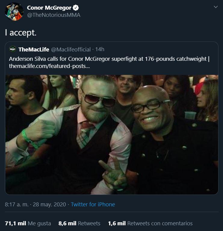 28/05/2020, Conor McGregor acepta una pelea de la UFC contra el brasileño Anderson Silva