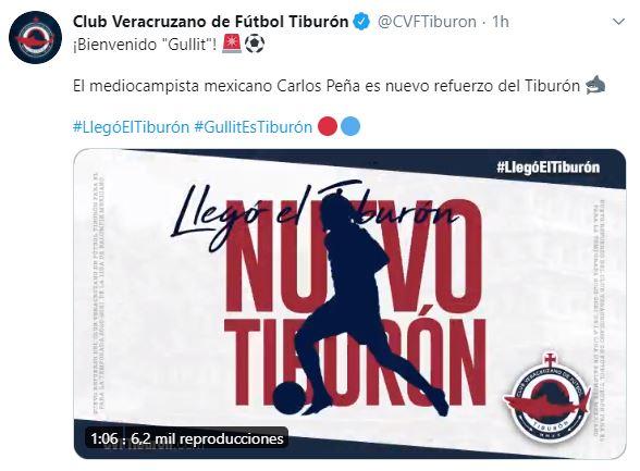 Carlos Gullit Peña Club Veracruzano Tuit Los Pleyers