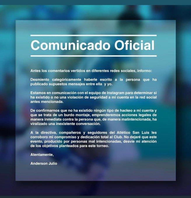 Comunicado Anderson Julio Infidelidad Los Pleyers