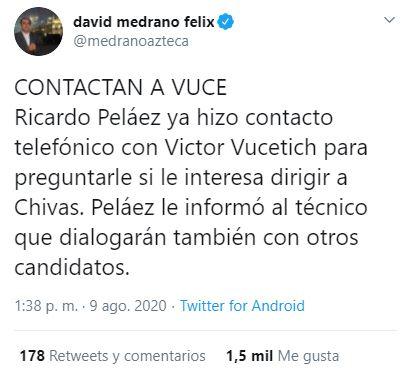 David Medrano Tuit Vucetich Chivas Los Pleyers