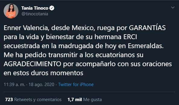 Reportan secuestrada a Erci Valencia hermana del exfutbolista de Tigres Enner Valencia