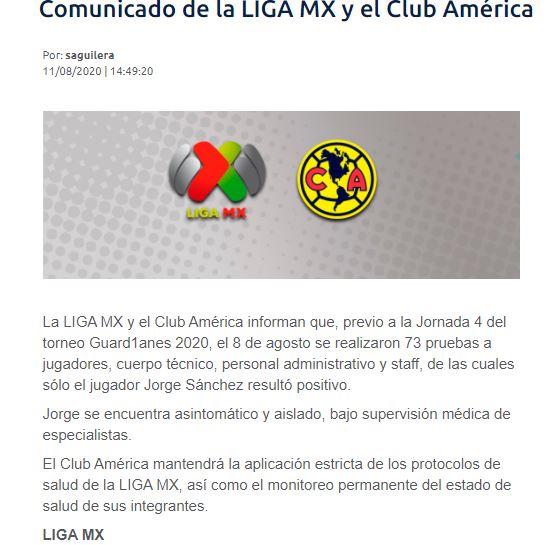 Liga mx América Jorge Sanchez Comunicado Coronavirus Los Pleyers