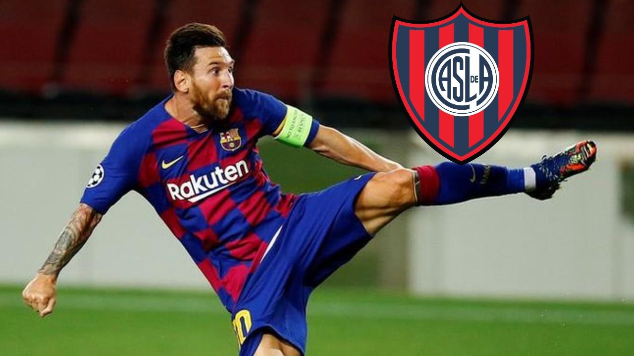 Messi mira el escudo del San Lorenzo la hacerse viral un videp