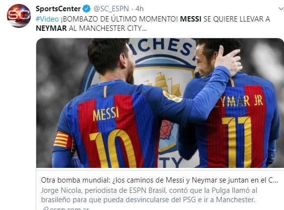 Tuit del rumor de Messi al City