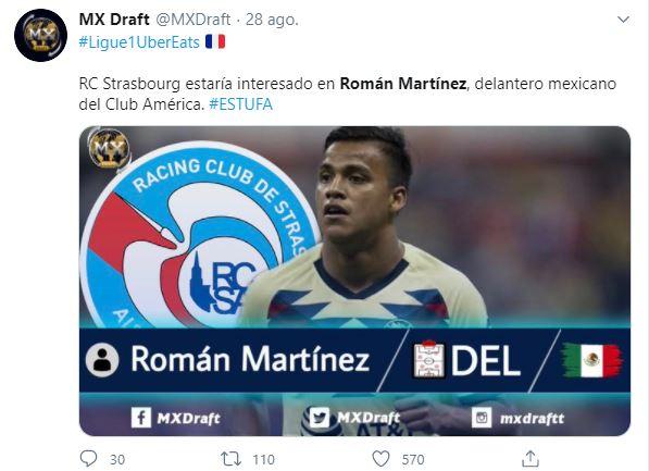 Tuit respecto al futuro de Román Martínez