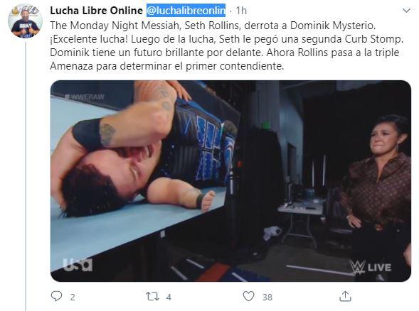 tuit de Dominik Mysterio ras su pelea contra Rollins