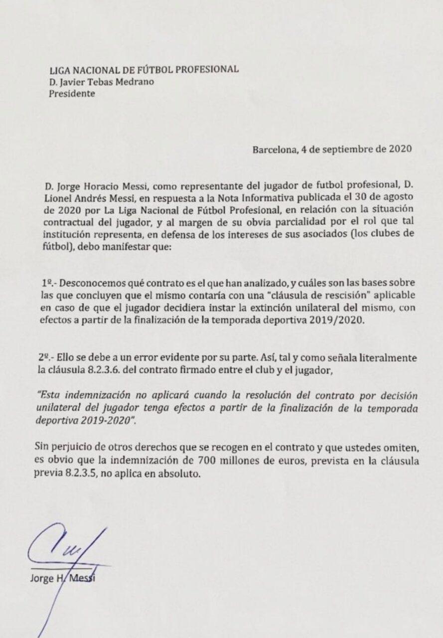 Messi le contesta a LaLiga con un comunicado y asegura que no tiene cláusula de rescisión con el Barcelona