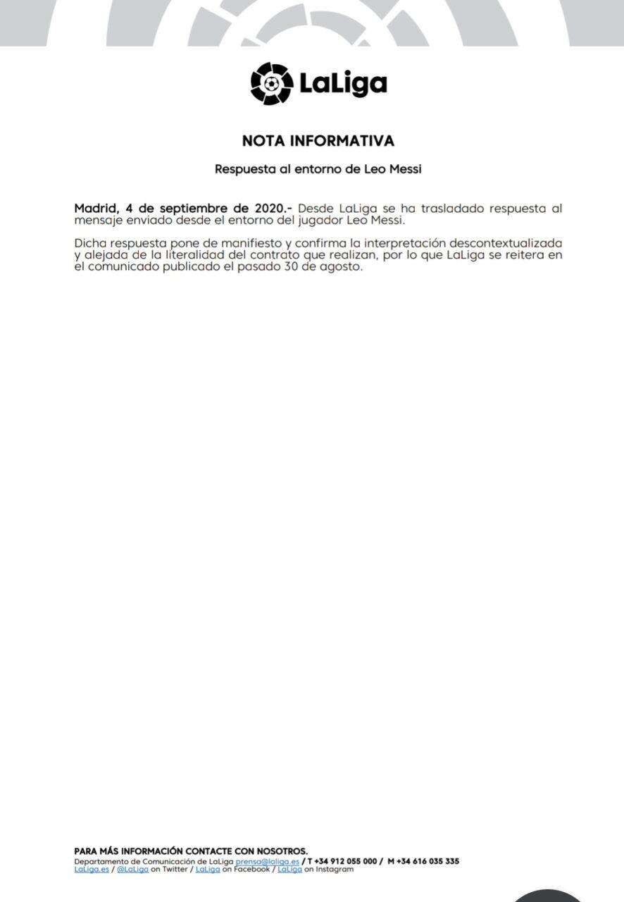 LaLiga le contesta a Messi sobre su cláusula de rescisión con el Barcelona