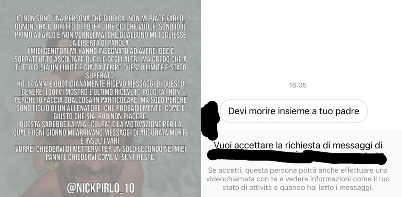 Hijo Pirlo denuncia amenazas muerte Juventus
