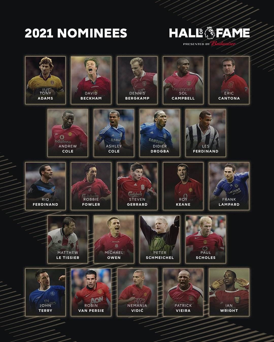 Salón de la Fama Premier League nominados