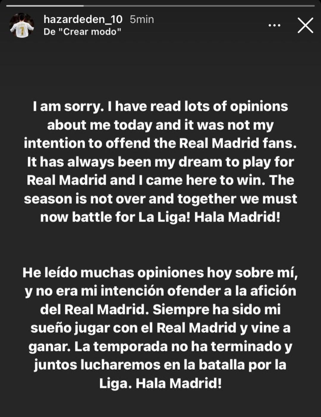 Eden Hazard Real Madrid disculpas Chelsea