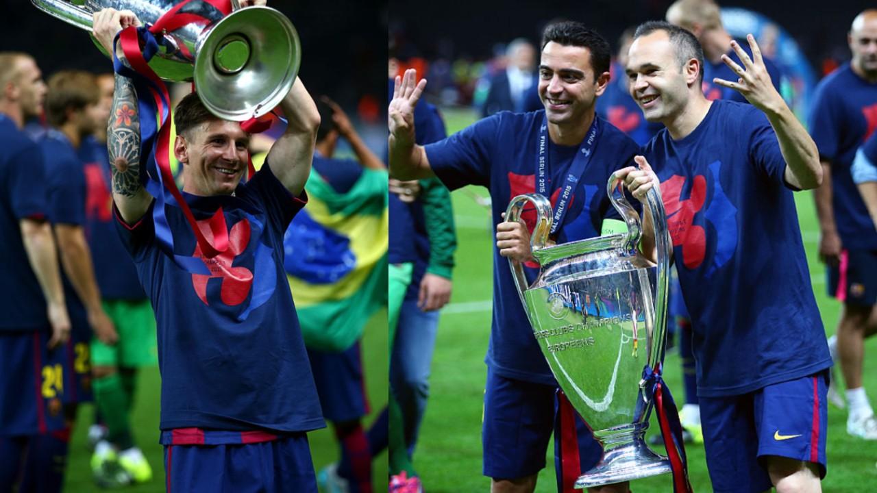 Jugadores más Champions League Messi Xavi Iniesta