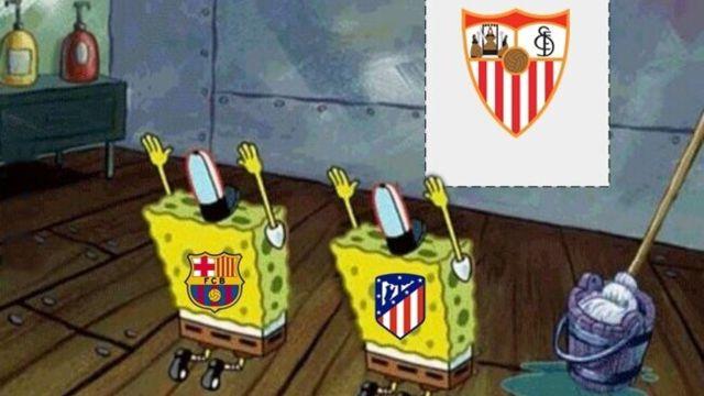 Real Madrid y Sevilla memes laliga 2021 atlético barca