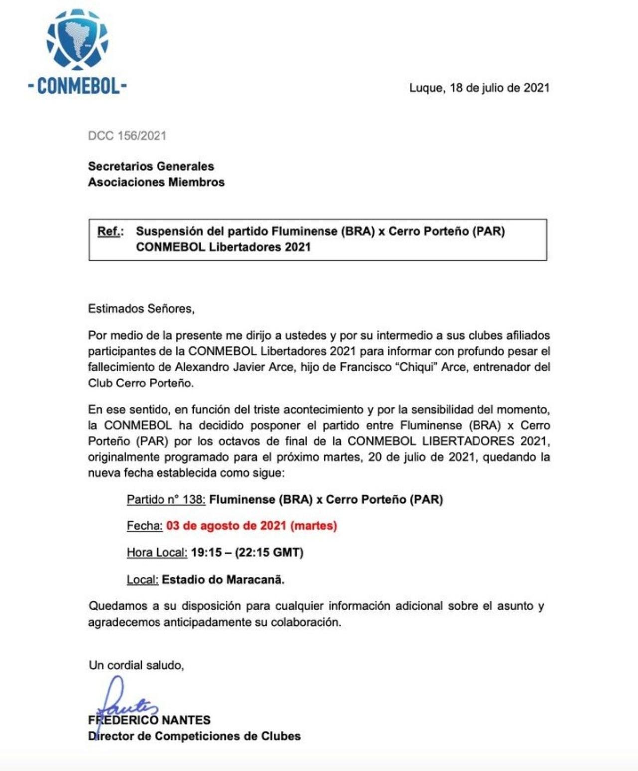 Fluminense Cerro Porteño aplazado muerte hijo técnico paraguayo