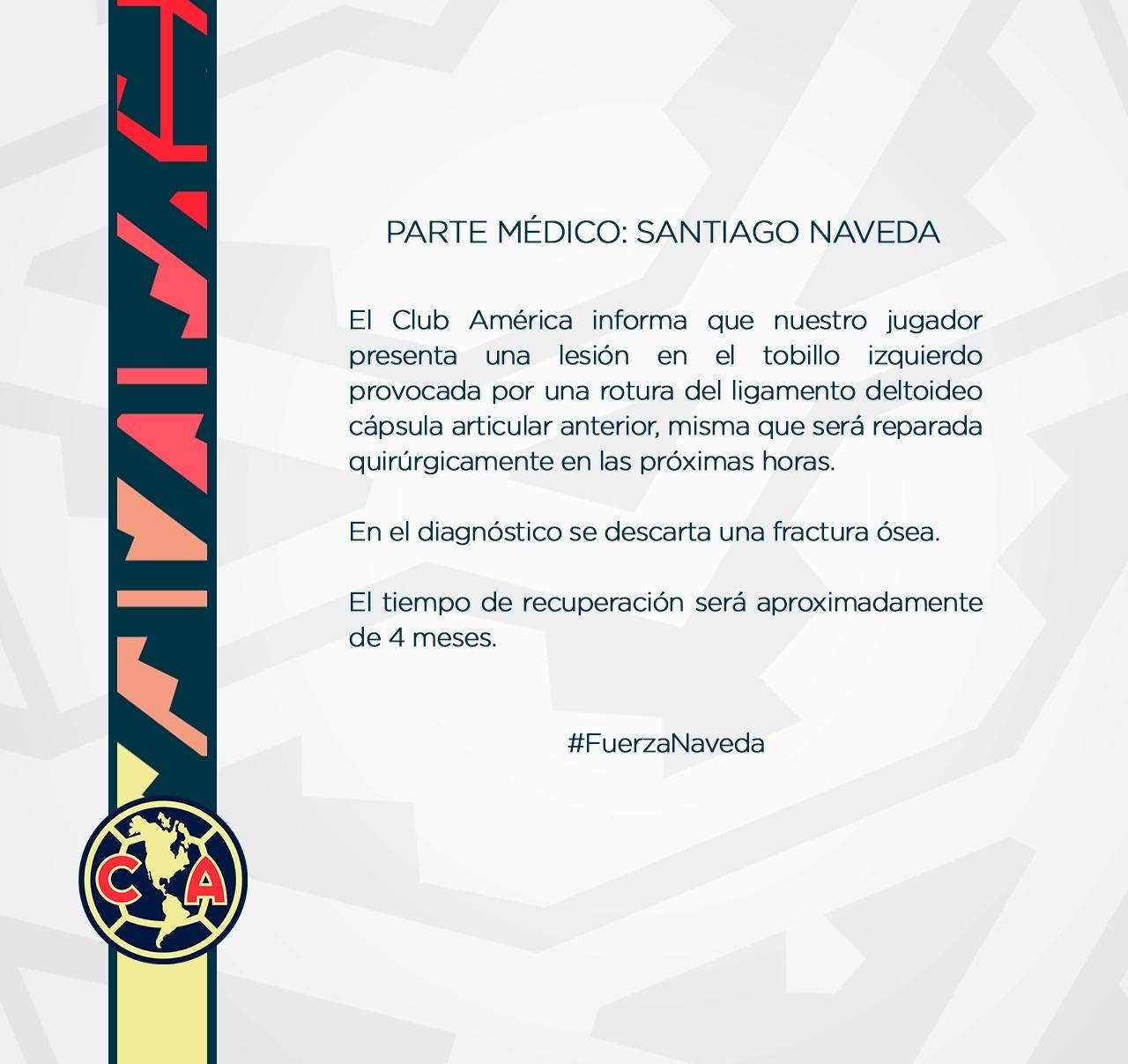 club america santiago naveda lesión liga bbva mx