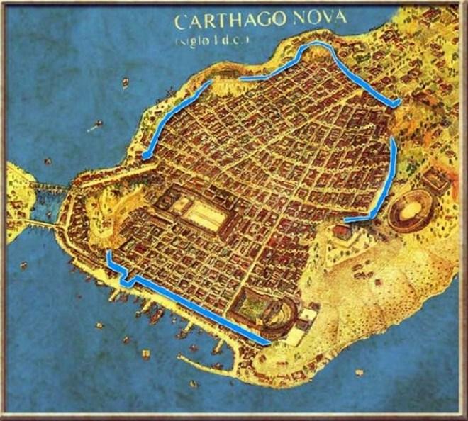 Posible trazado de la muralla romana de Carthago Nova, en azul