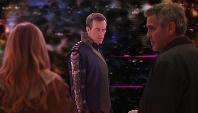 Disney's TOMORROWLAND L to R: Casey (Britt Robertson), David Nix (Hugh Laurie) and Frank Walker (George Clooney) Ph: Film Frame ©Disney 2015