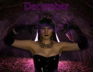 Lossien standing center photo, wearing a black PVC corset, with black gloves. She has on a dark green long wig, and opulent jewelry (a crown necklace, earrings and bracelets). The word 'December' is center top on the photo.