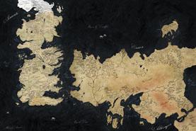 Mapa Canción de Hielo y Fuego, Juego de Tronos, en color