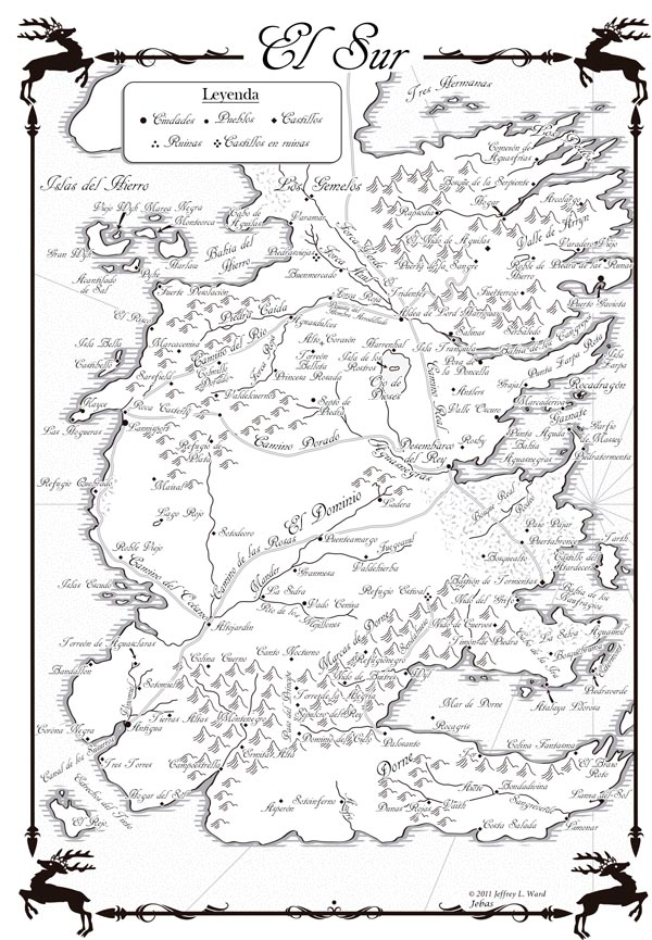 mapa de el Sur de Poniente en español juego de tronos