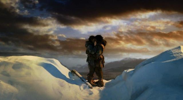Ygritte y Jon en lo alto del Muro