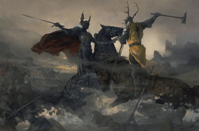 """La Batalla del Tridente. Ilustración de """"El Mundo de Hielo y Fuego"""" by Justin Sweet"""