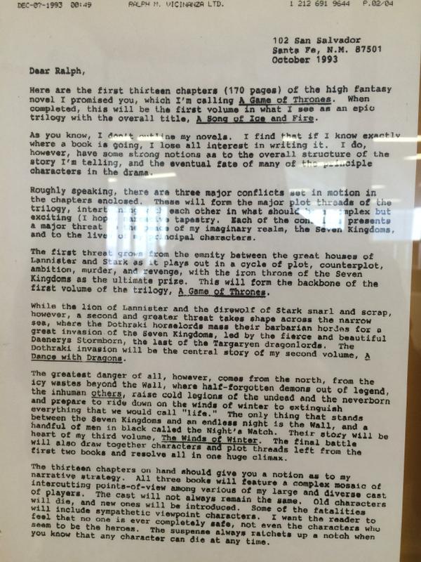 Una increíble carta que George R. R. Martin escribió en 1993 desvela ...