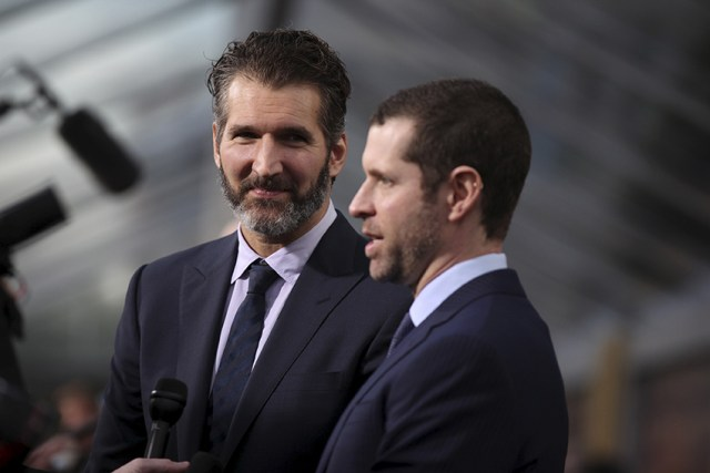 """David Benioff and Dan Weiss, creators and executive producers, arrive for the season premiere of HBO's """"Game of Thrones"""" in San Francisco"""
