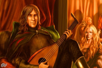 Mance playing the lute, Val in the background - by Amok ©