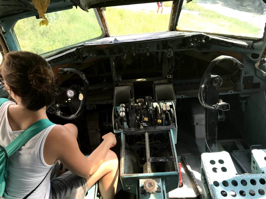 Inside the cockpit of one of the plane at the graveyard, Bangkok