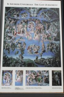 Erklärungstafeln zu Michelangelos Jüngstem Gericht
