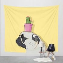pug-flower-pot-cactus-tapestries