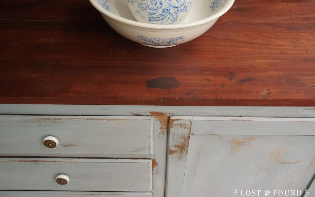 Primitive Milk Paint Cabinet { Furniture Makeover }