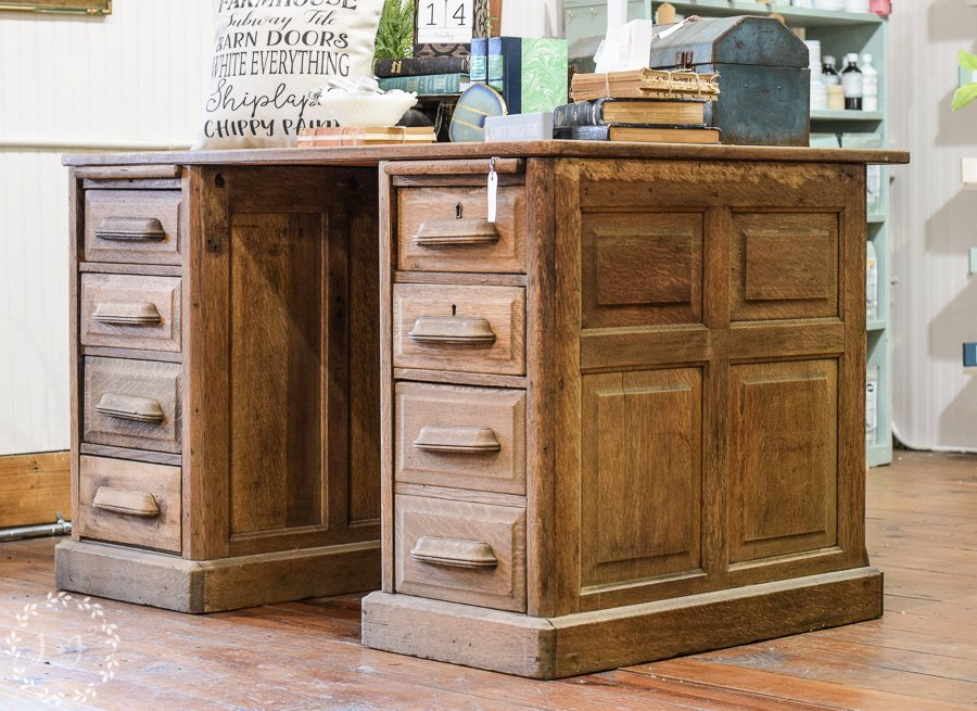 Antique Oak Paneled Desk and Quick Stop in My Booth