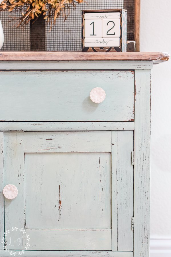 Oak Washstand Painted with Milk Paint