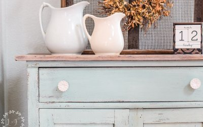 Painted Oak Washstand Makeover with Eulalie's Sky Milk Paint