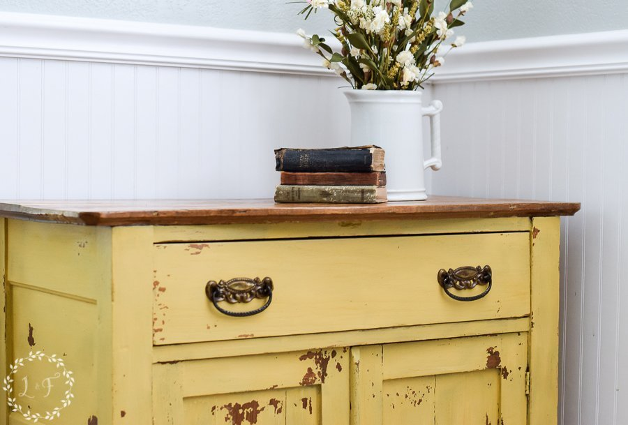 Oak Washstand Makeover with Milk Paint Mustard Seed Yellow