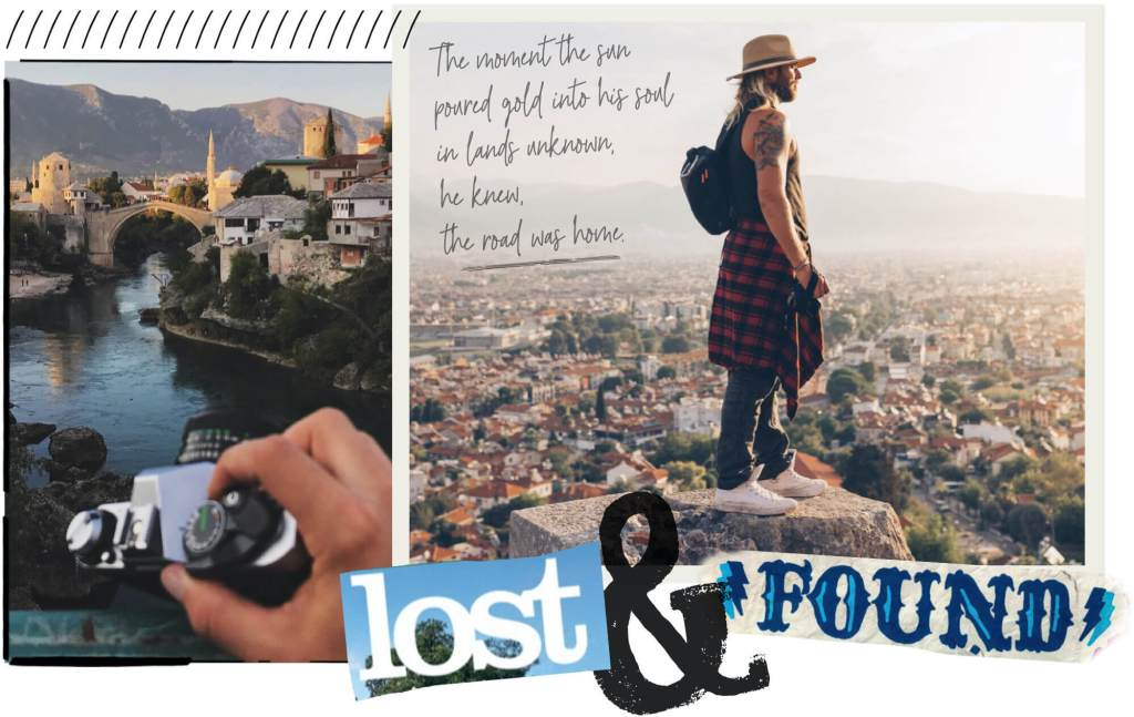 Photo of Ryan in a collage and journaling style with lost and found and personal scribbles-
