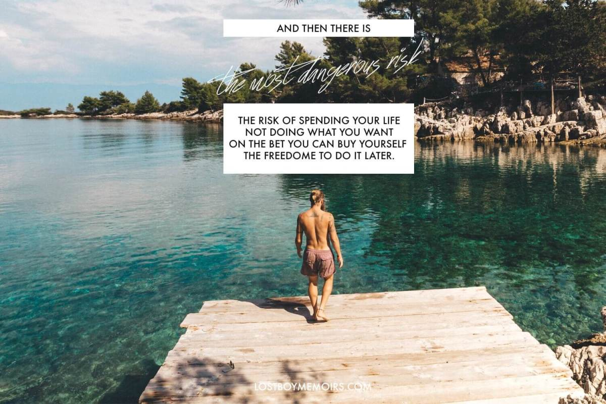 Inspirational Travel Quotes With a man on a pier about to just off of the ledge into a bright blue bay.
