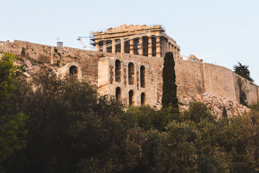 Photo of the Acropolis while lost in Athens Greece.