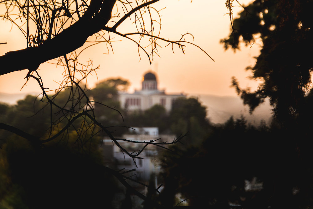 Photo of sunset over Athens Greece.