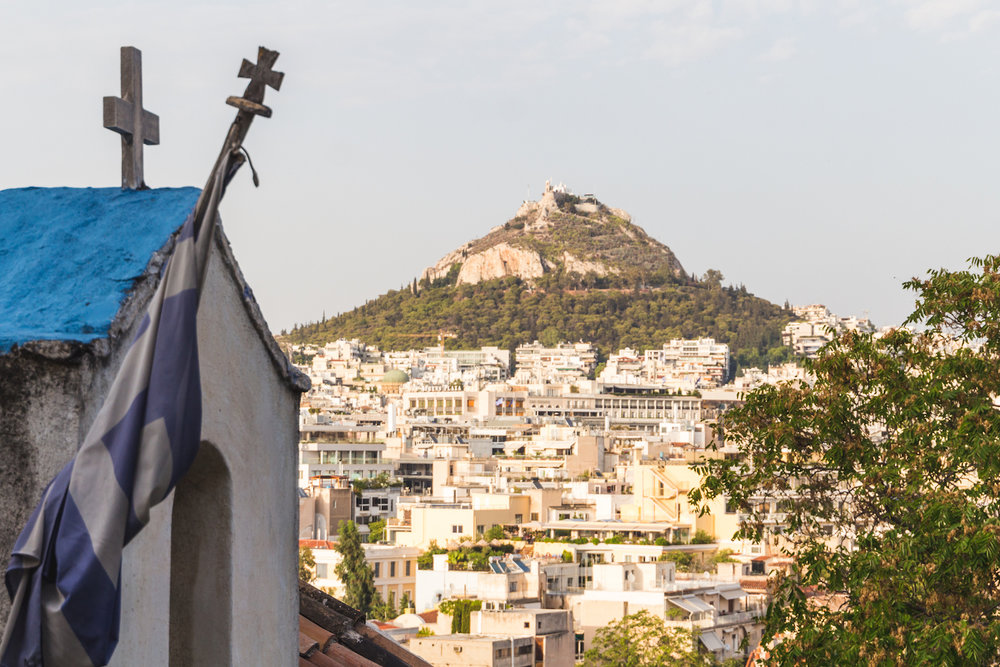 A photo of Mount Lycabettus and downtown Athens Greece