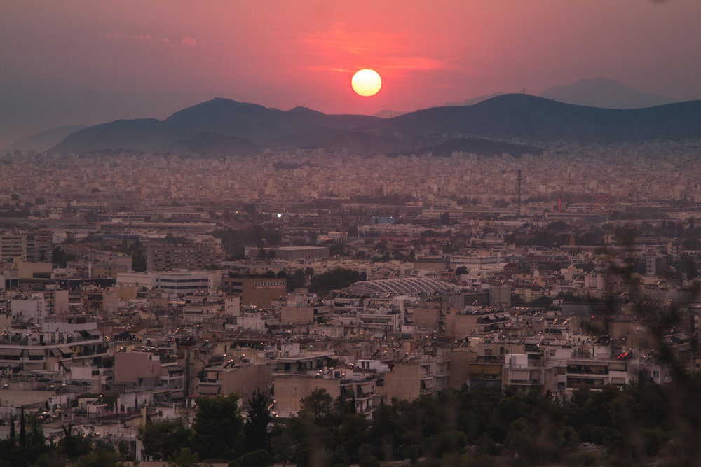 Photo of burning sunset over Athens Greece