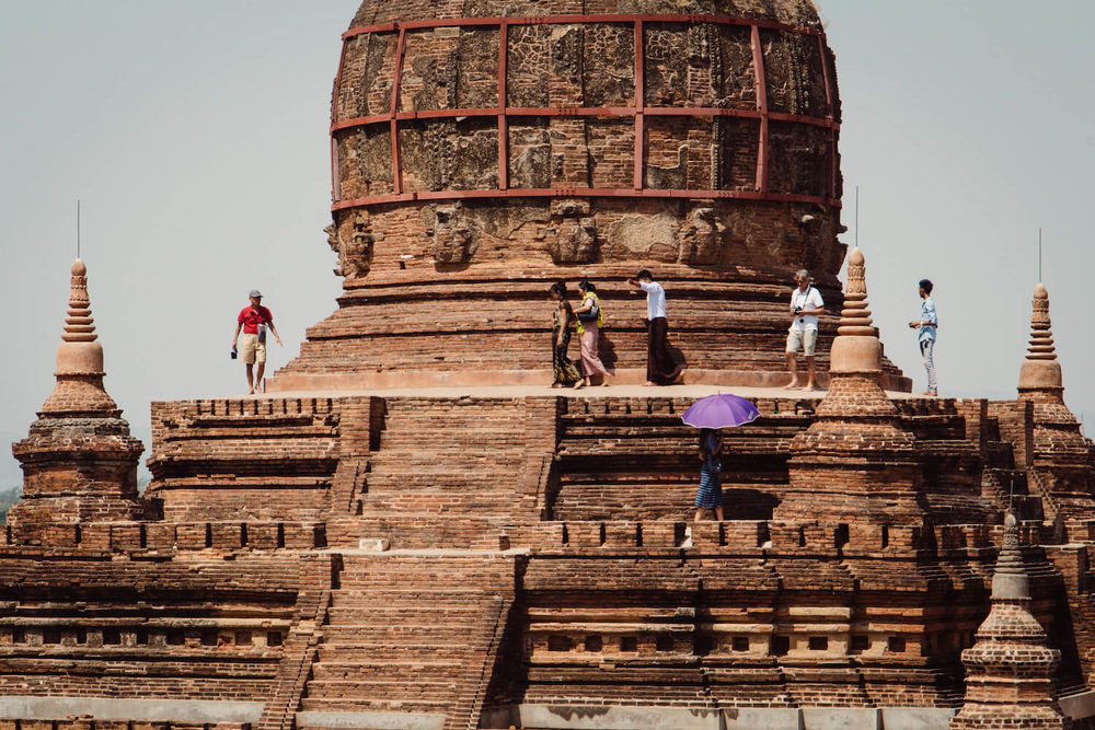Temples and tourist in Bagan Myanmar.