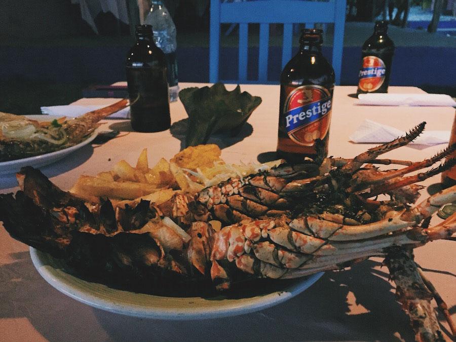 Prestige beer and lobster for Christmas Dinner in Jacmel Haiti.