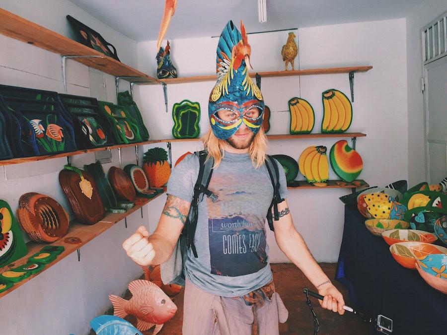 Painted festival masks in Jacmel Haiti for Carnival.