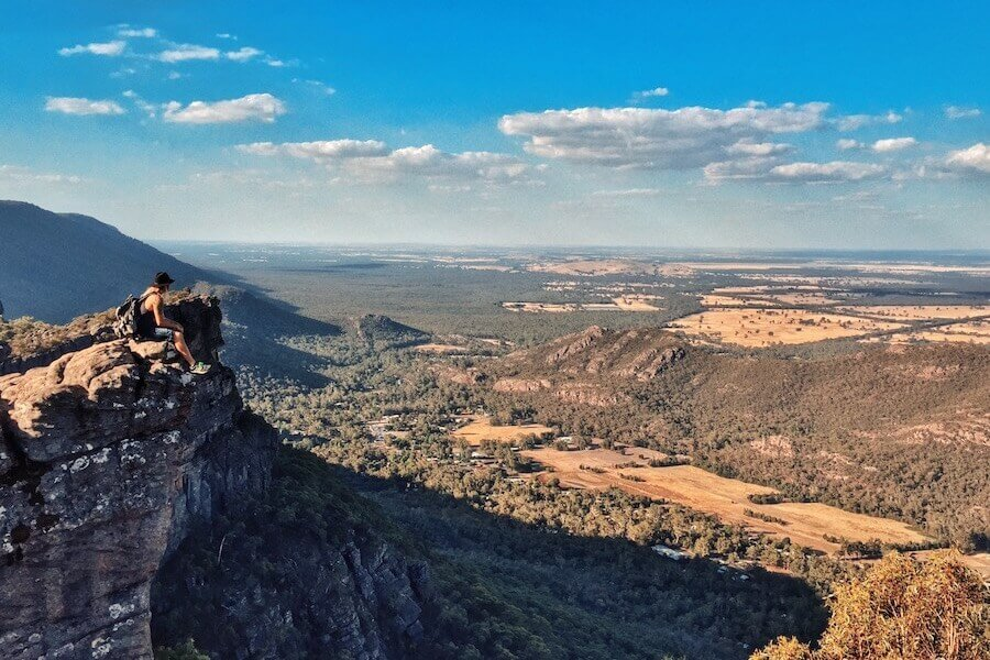 Pinnacles Grampians Hiker on Rock in Victoria Australia
