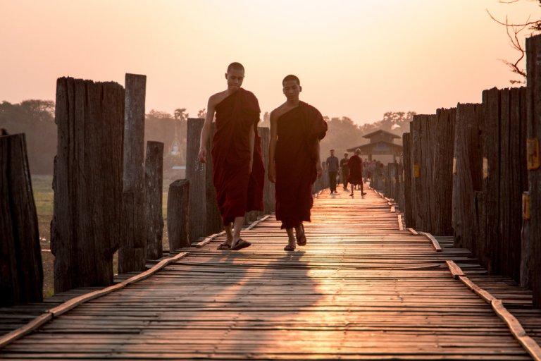 Sunrise monks on Ubein Bridge Myanmar